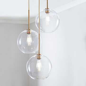 Sculptural Glass 3-Light Round Globe Chandelier, Medium Globe, Clear Shade, Brass Canopy - West Elm