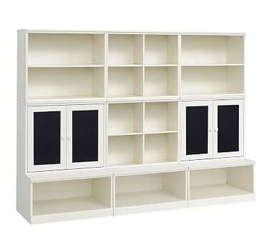 2 Cubby, 2 Chalkboard Cabinet, 2 Bookcase Cubby, and; 3 Open Base Set, Simply White, Flat Rate - Pottery Barn Kids