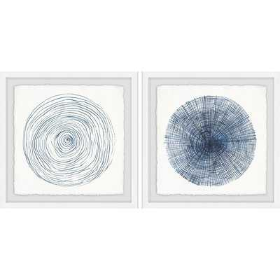 'Circle Lines Diptych' 2 Piece Framed Drawing Print Set - Wayfair