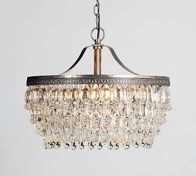 "Clarissa Crystal Drop Round Chandelier, Medium (19"" Diameter) - Pottery Barn"