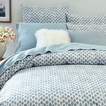 Organic Stamped Dot Duvet Cover, Twin, Moonstone - West Elm