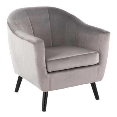 Rockwell Silver Velvet Accent Chair - Home Depot