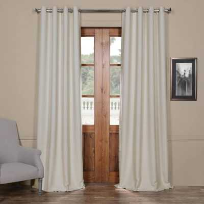 Exclusive Fabrics & Furnishings Semi-Opaque Cottage White Bellino Grommet Blackout Curtain - 50 in. W x 96 in. L (Panel) - Home Depot