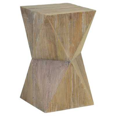 Roman Rustic Lodge Geometric Distressed Brown Solid Elm Side End Table - Kathy Kuo Home