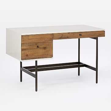 Reclaimed Wood + Lacquer Storage Desk - Reclaimed Wood/White - West Elm