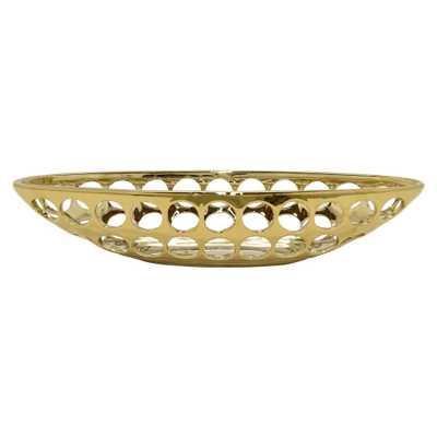 17.5 in. x 5.5 in. Decorative Pierced Gold Ceramic Bowl - Home Depot
