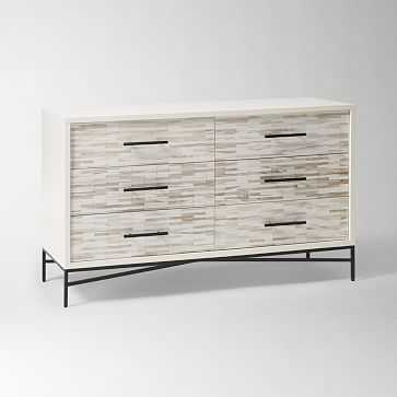 Wood Tiled 6-Drawer Dresser, Whitewash - West Elm