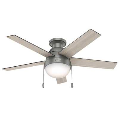 Hunter Anslee 46 in. Indoor Low Profile Matte Silver Ceiling Fan with Light - Home Depot
