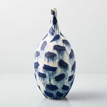"""Abstract Indigo Vase, Extra Large, Dash, 17"""" - West Elm"""