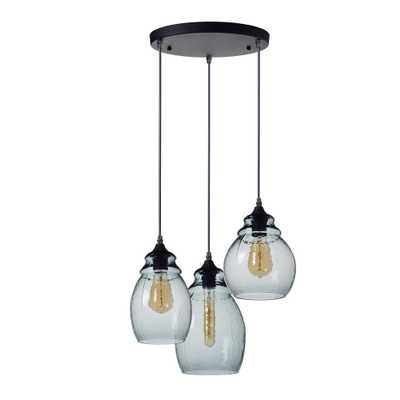 Casamotion 10, 11 and 12 in. H 3-Light Black Hammered Glass Chandelier with Blue Glass Shades - Home Depot