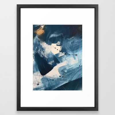 Against the Current: A bold, minimal abstract acrylic piece in blue, white and gold Framed Art Print by Blushingbrushstudio - Society6