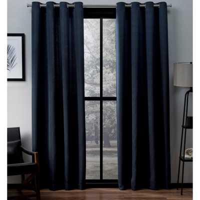 Amalgamated Textiles Virenze Peacoat Blue Faux Silk Grommet Top Window Curtain set - Home Depot