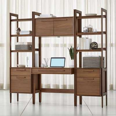 Tate Bookcase Desk with Power with 2 Bookcase File Cabinets - Crate and Barrel
