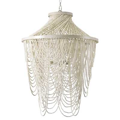 Palecek Mariana Coastal Beach White Beaded Chandelier - Kathy Kuo Home