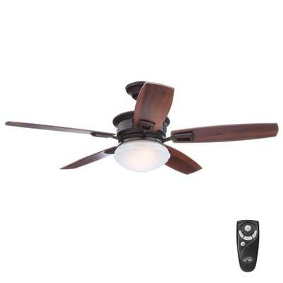 Hampton Bay Lazerro II 52 in. Indoor Oil-Rubbed Bronze Ceiling Fan with Light Kit and Remote Control - Home Depot