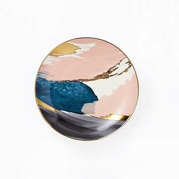 Abstract Brushstroke Salad Plate, Pink/Gold, Set of 4 - West Elm
