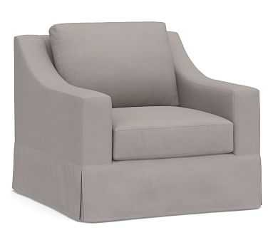 York Slope Arm Slipcovered Swivel Armchair, Down Blend Wrapped Cushions, Belgian Linen Light Gray - Pottery Barn