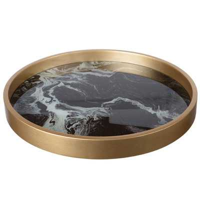 Josu Round Black and Gold Tray - AllModern