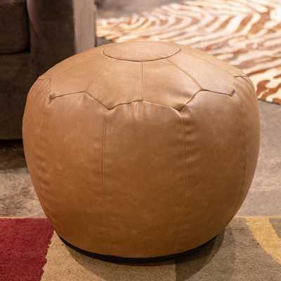 Decor Therapy Preena Saddle Brown Faux-Leather Pouf - Home Depot
