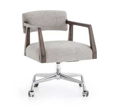 Belden Linen Desk Chair, Oak, Gray Cotton Linen - Pottery Barn