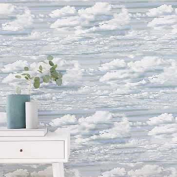 Etched Clouds Print Wallpaper, Rainstorm Blue - West Elm