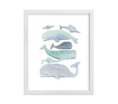 Blue Whales Wall Art by Minted(R), 8x10, White - Pottery Barn Kids