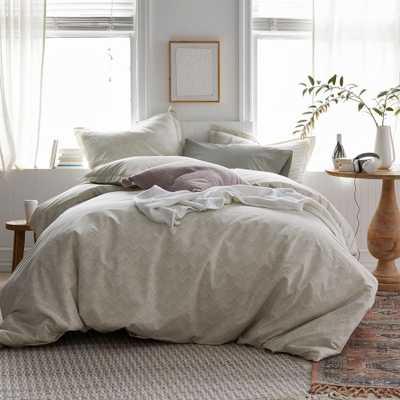 Herringbone 3-Piece 200-Thread Count Organic Cotton Percale Queen Duvet Cover Set in Dune - Home Depot