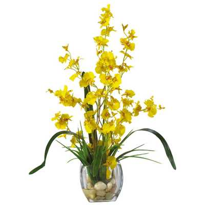 19 in. Dancing Lady Orchid Liquid Illusion Silk Flower Arrangement in Yellow - Home Depot