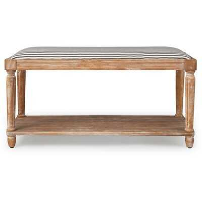 Aldrich Upholstered Bench, Distressed Natural - Wayfair