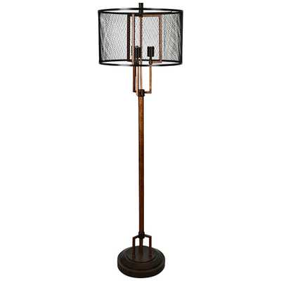 Crestview Collection Winchester Black Mesh Industrial Floor Lamp - Style # 15R59 - Lamps Plus