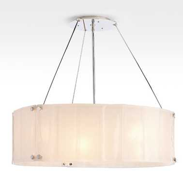 "Willamette 32"" Pearl White Fluted Chandelier - Rejuvenation"