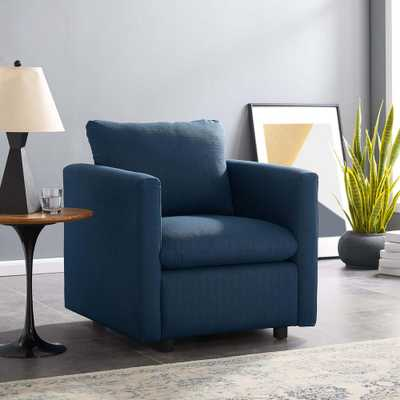 MODWAY Activate Azure Upholstered Fabric Arm Chair, Blue - Home Depot