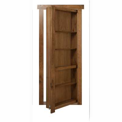 The Murphy Door 28 in. x 80 in. Flush Mount Assembled Hickory Medium Stained Right Hand Out-Swing Solid Core Interior Bookcase Door, Medium Brown Stained - Home Depot