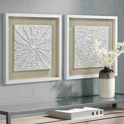 """White Out 23 3/4"""" Square Framed Wall Art Set Of 2 - Lamps Plus"""
