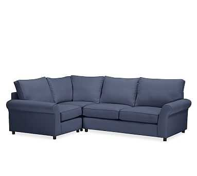 PB Comfort Roll Arm Upholstered Right Arm 3-Piece Corner Sectional, Box Edge Memory Foam Cushions, Twill Cadet Navy - Pottery Barn