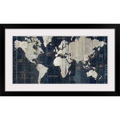 'Old World Map Blue' Graphic Art Print - AllModern