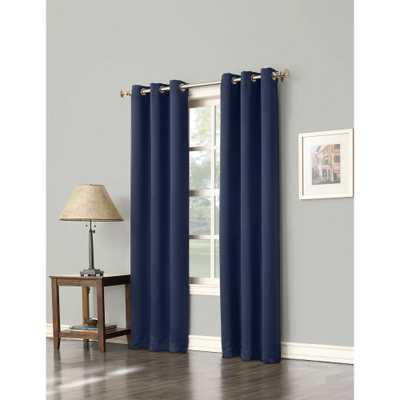 Sun Zero Blackout Gavin 63 in. L Blackout Curtain Panel in Navy (Blue) - Home Depot
