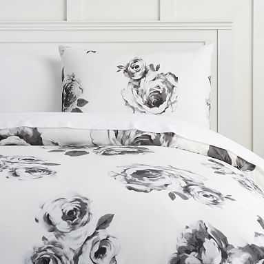 The Emily & Meritt Bed Of Roses Duvet Cover, Full/Queen, Black/Ivory - Pottery Barn Teen