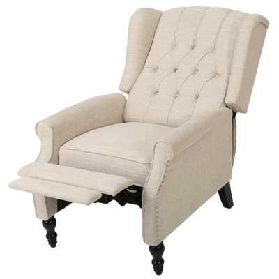Walter Light Beige Fabric Tufted Wingback Recliner - Home Depot