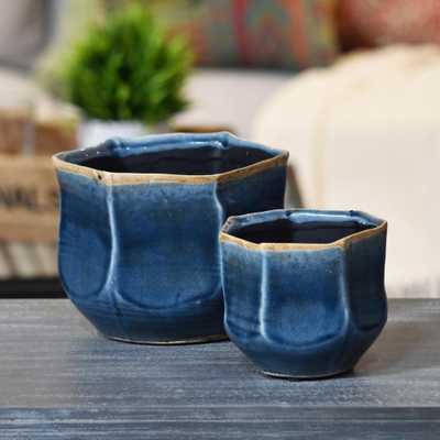 Blue Gloss Rust Ceramic Decorative Vase - Home Depot