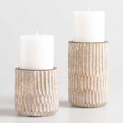 "Whitewash Carved Pillar Candleholder - 6"" by World Market 6"" - World Market/Cost Plus"