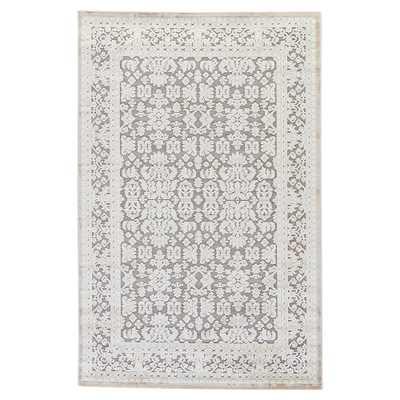 Thea Modern Blue Grey Damask Border Pattern Rug - 12' x 15' - Kathy Kuo Home
