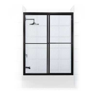 Coastal Shower Doors Newport Series 60 in. x 58 in. Framed Sliding Tub Door with Towel Bar in Oil Rubbed Bronze and Aquatex Glass - Home Depot