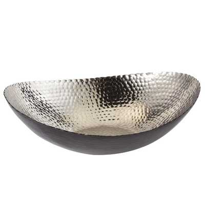 14.75 in. by 11 in. Hammered Large Oval Bowl in Black and Silver - Home Depot