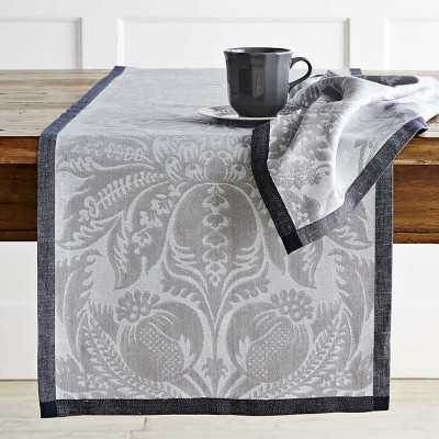Alba Jacquard Table Runner, Charcoal - Williams Sonoma