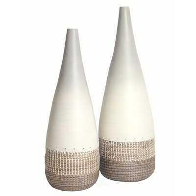 Oberon Spun Bamboo and Coiled Seagrass 2 Piece Floor Vase Set - Wayfair