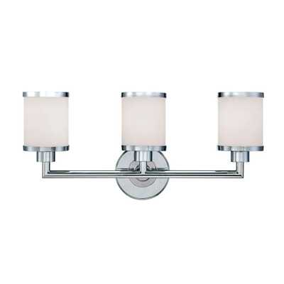 Millennium Lighting 3-Light Chrome Vanity Light with Etched White Glass - Home Depot