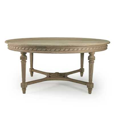 Harriete Modern Classic Weathered Drift Elm Carved Round Dining Table - Kathy Kuo Home