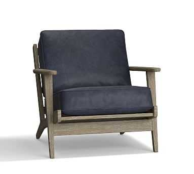 Raylan Leather Armchair, Down Blend Wrapped Cushions, Statesville Indigo Blue - Pottery Barn