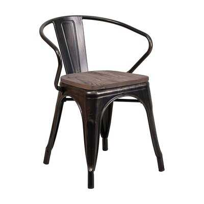 Williston Forge Black-Antique Gold Metal Chair With Wood Seat And Arms - Wayfair